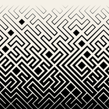 Vector Seamless Black & White Square Maze Lines Halftone Pattern