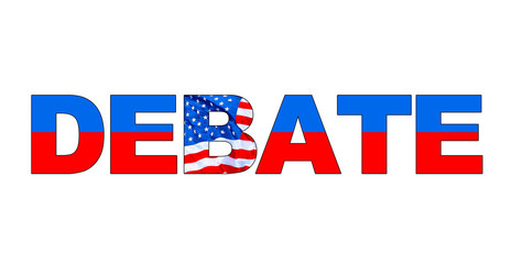 DEBATE word in red, white and blue with American flag. Color blue on top for Democrat