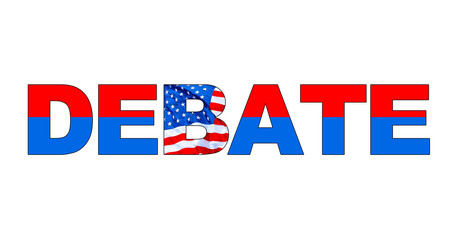 DEBATE word in red, white and blue with American flag. Color red on top for Republican