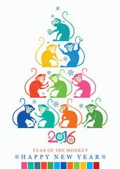 New year Card. 2016. Bright Christmas tree monkeys.
