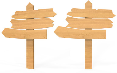 Arrows sign boards in wooden texture