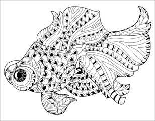 Zentangle stylized floral china fish doodle