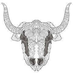 Yak head doodle with black nose on white background.Vector illustration. Sketch for tattoo or coloring book. Animal collection.