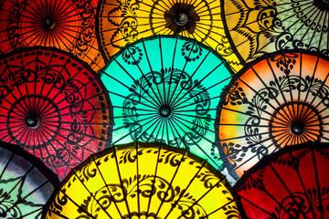 Colorful Parasols at Traditional Asian Market in Bagan, Myanmar.