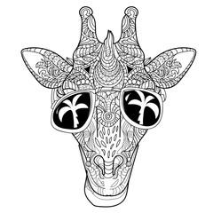The head of a giraffe hipster.