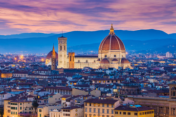 The twilight of Florence in Tuscany, Italy