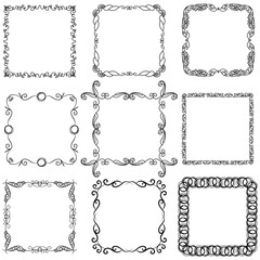 Set of hand drawn doodle frames for design