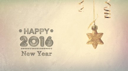 Happy New Year 2016 message with a hanging star