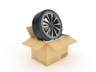 wheel in cardboard box