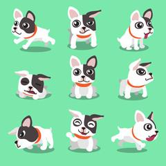 Cartoon character french bulldog poses