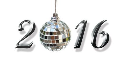 2016 avec boule à facettes sur fond blanc