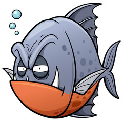 Vector illustration of angry fish cartoon