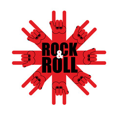 Rock and roll logo. Star of rock hand sign. Template logo for  m