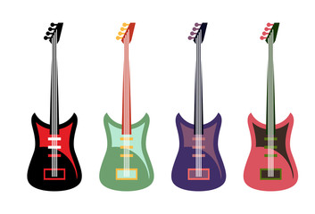 Set of colored guitars. Multi-colored rock electric guitars.