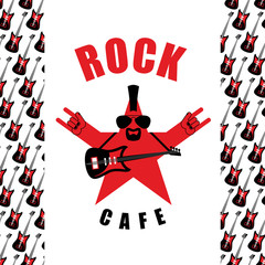 Rock Cafe. Logo template for music rock bar. Star with electro