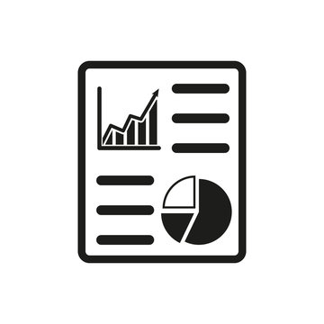 The business report icon. Audit and analysis, document, plan symbol. Flat