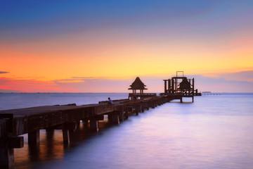 Wat Jittapawan, Old bridge on sea in sunset at Pattaya, Thailand