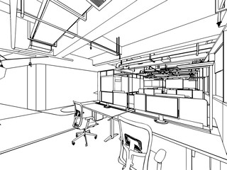 interior outline drawing sketch