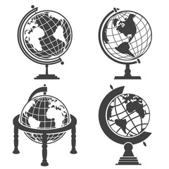 Earth globe illustration monochrome set