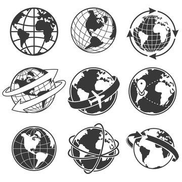 Globe concept illustration set, monochrome