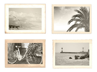 vintage photo retro style holiday romance boy girl skateboard sea