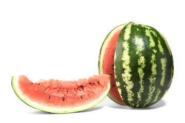 ripe watermelon with cut of a white background