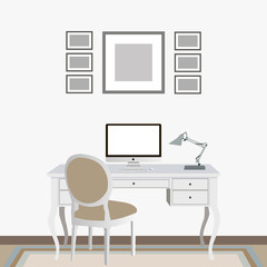 Light interior with computer, vintage chair and table and pictures on the wall. Flat design.