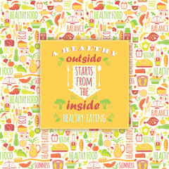 Healthy eating background with quote.