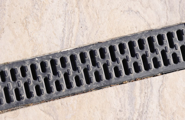 Trench drain linear grate on street