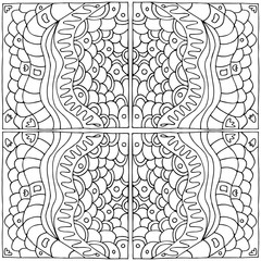 black and white seamless abstract geometric pattern of squares in a zentangle style, done by hand