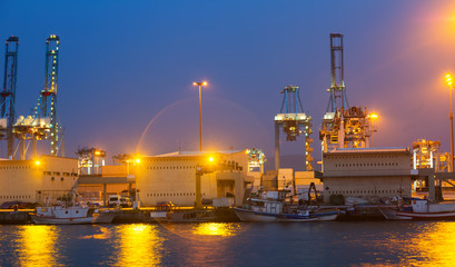 night view of  seaport. Algeciras