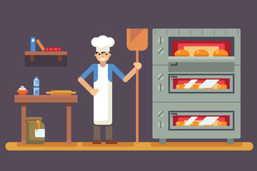 Cook baker cooking bread icon on bakery background  flat design