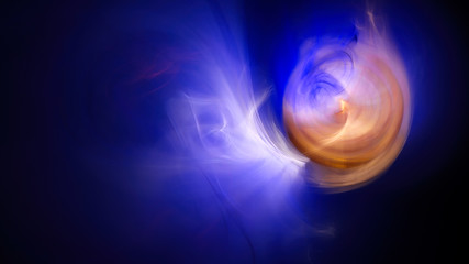 Eclipse alien sun. Lights and smoke. Abstract image. Fractal Wallpaper on your desktop. Format 16:9 for widescreen monitors. Digital artwork for creative graphic design. Dark background.