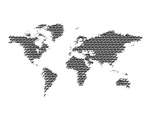 World Map political серый гравировка on an isolated background