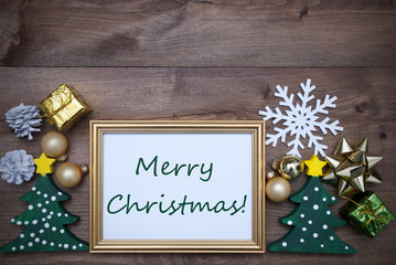 Frame With Decoration And Text Merry Christmas