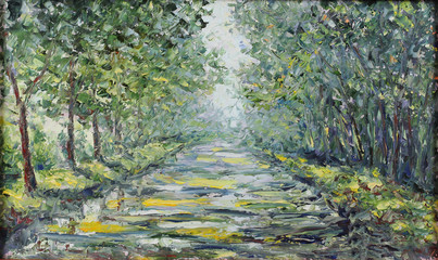 road in the summer forest, oil painting