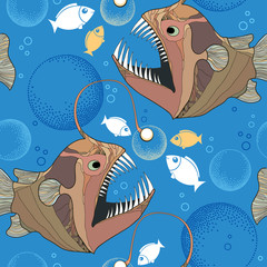 Seamless pattern with Angler fish or monkfish and bubbles