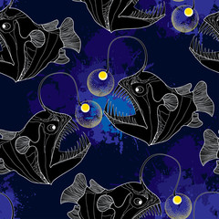 Seamless pattern with Angler fish or monkfish and blue blots
