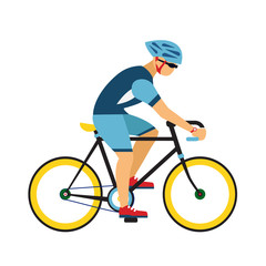 Man with helmet ride by road bicycle. sport flat illustration.