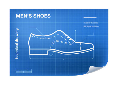 Wireframe Illustration with shoe drawing on the blueprint