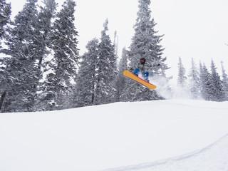 snowboarder freerider in jump