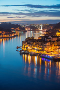 Porto city, Portugal October 17, 2013: city lights, Portugal: panorama of Ribeira and Douro river in the evening