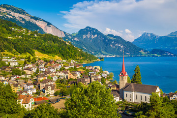 Wall Mural - Town of Weggis at Lake Lucerne, Switzerland