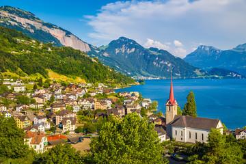 Fototapete - Town of Weggis at Lake Lucerne, Switzerland