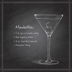 cocktail manhattan on black board