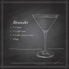 coctail alexandr on black board