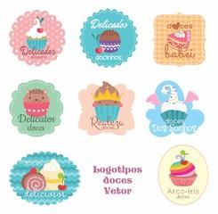 Etiquetas, tags. adesivos doces, docinhos, doce, logo, vetor, padaria, doceria, confeitaria