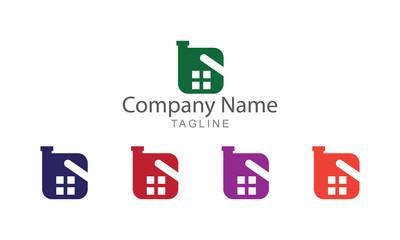 Flat Property Real Estate Logo Business Concept
