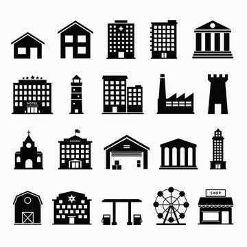Simple set icon building