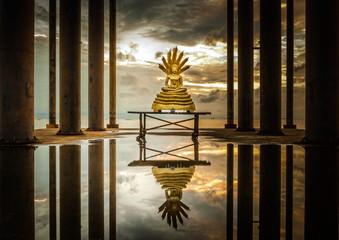 Buddha statue with reflection at Pattaya, Thailand